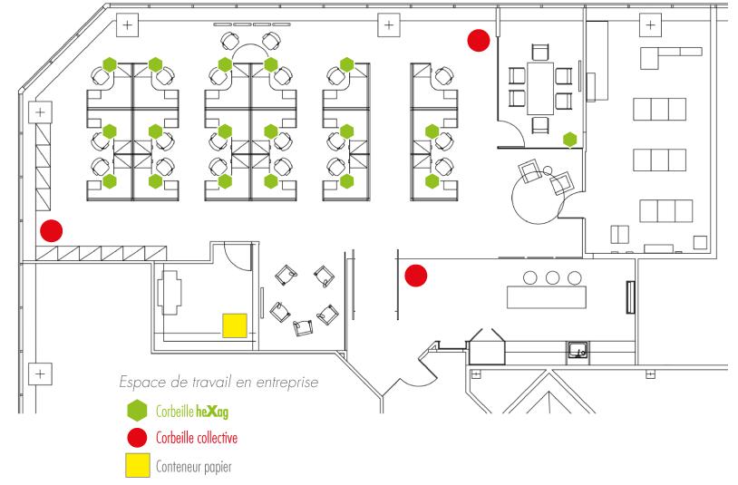 Aménagement espace de travail éco-citoyen avec les corbeilles de bureau éco-responsables pour le tri du papier