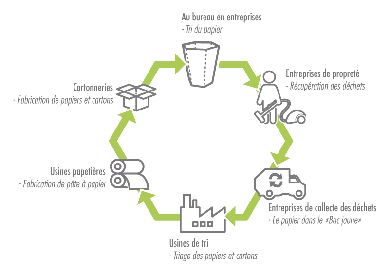 tri du papier, cycle du recyclage